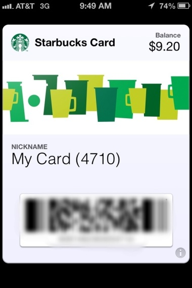 Picture of Starbucks card in Passbook