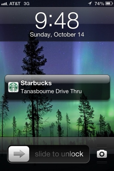 Picture of Passbook on an iPhone's lock screen