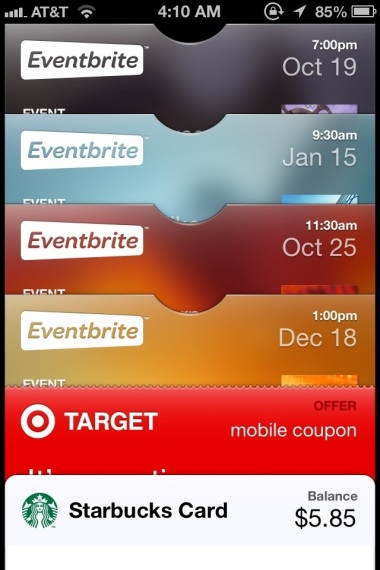 Picture of Passbook on an iPhone
